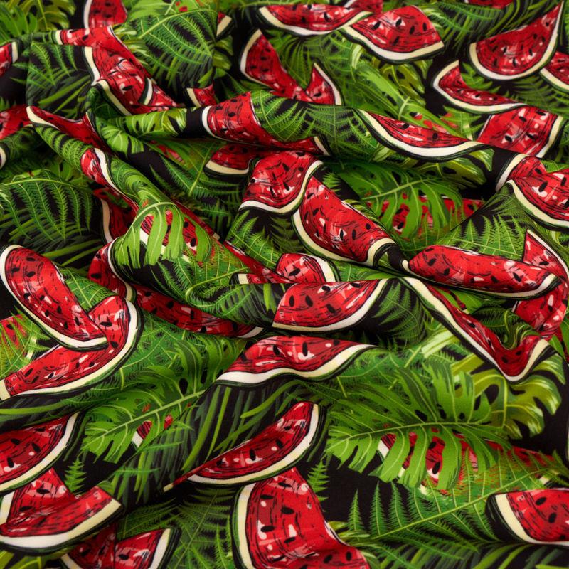 کرپ مازراتی یلدایی طرح هندوانه سبز