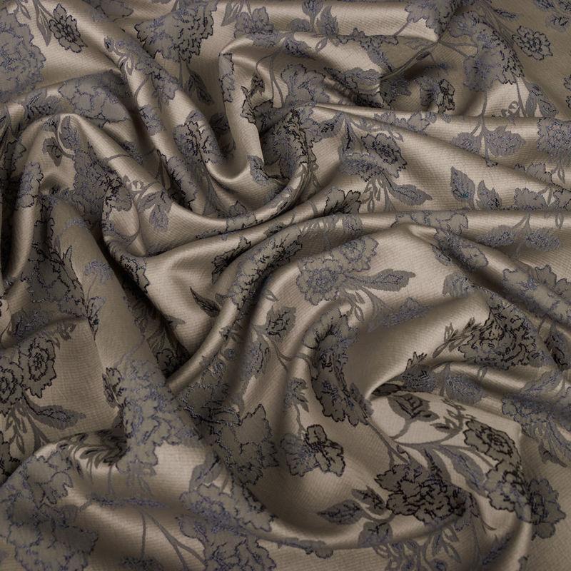 ژاکارد گل دار طوسی-سرمهای