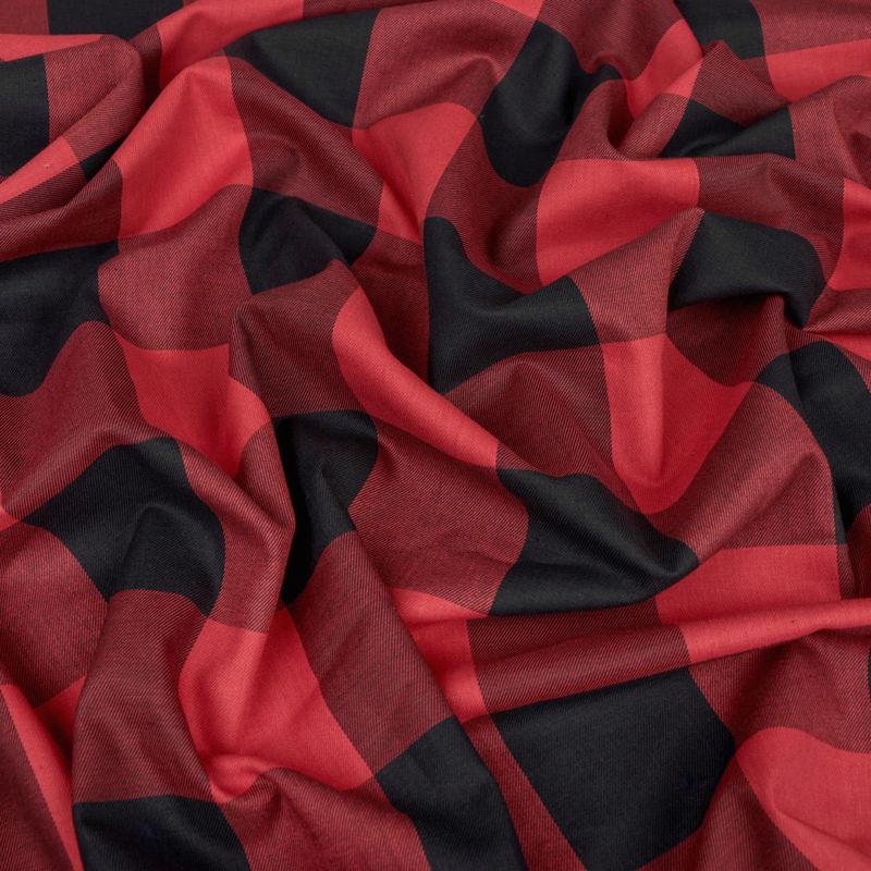 لینن چهارخونه قرمز-مشکی