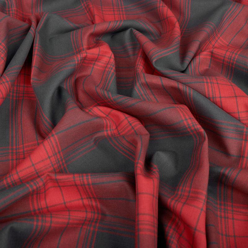 لینن چهارخونه طوسی-قرمز