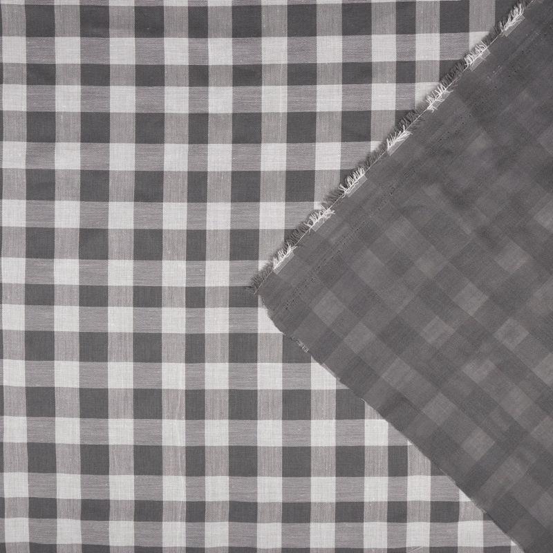 لینن چهارخونه دبل سفید-طوسی
