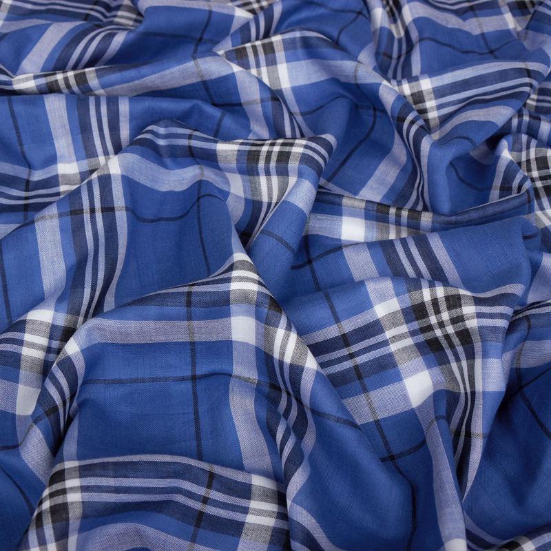 لینن چهارخونه دبل آبی