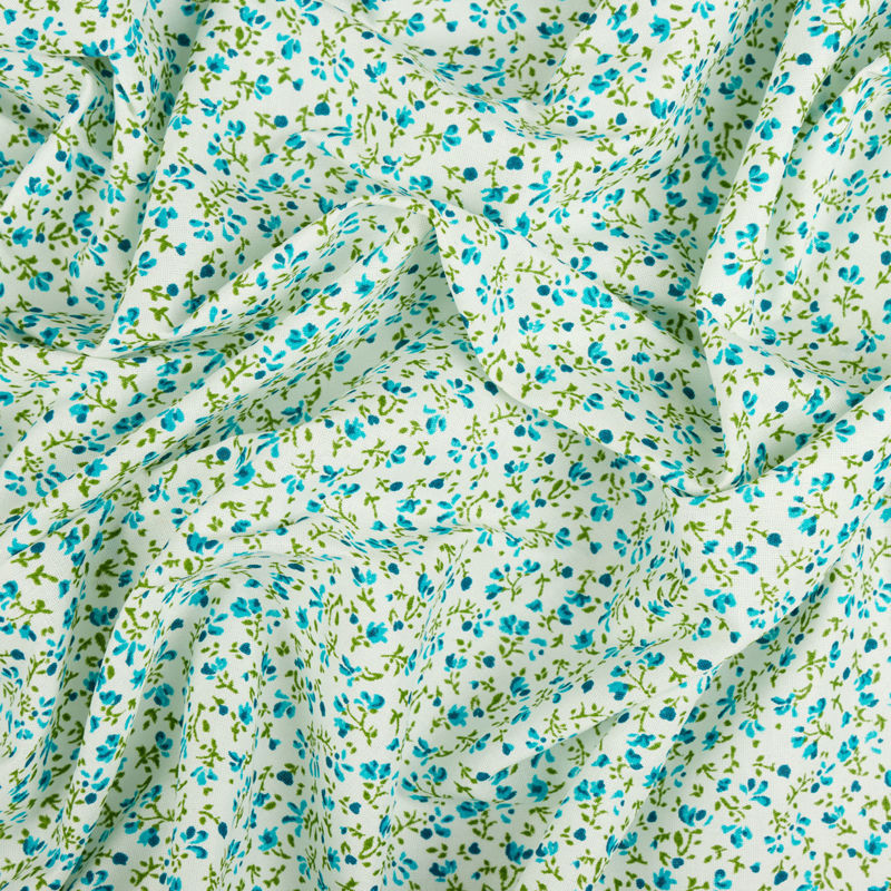 چادری گلباران سفید-آبی روشن