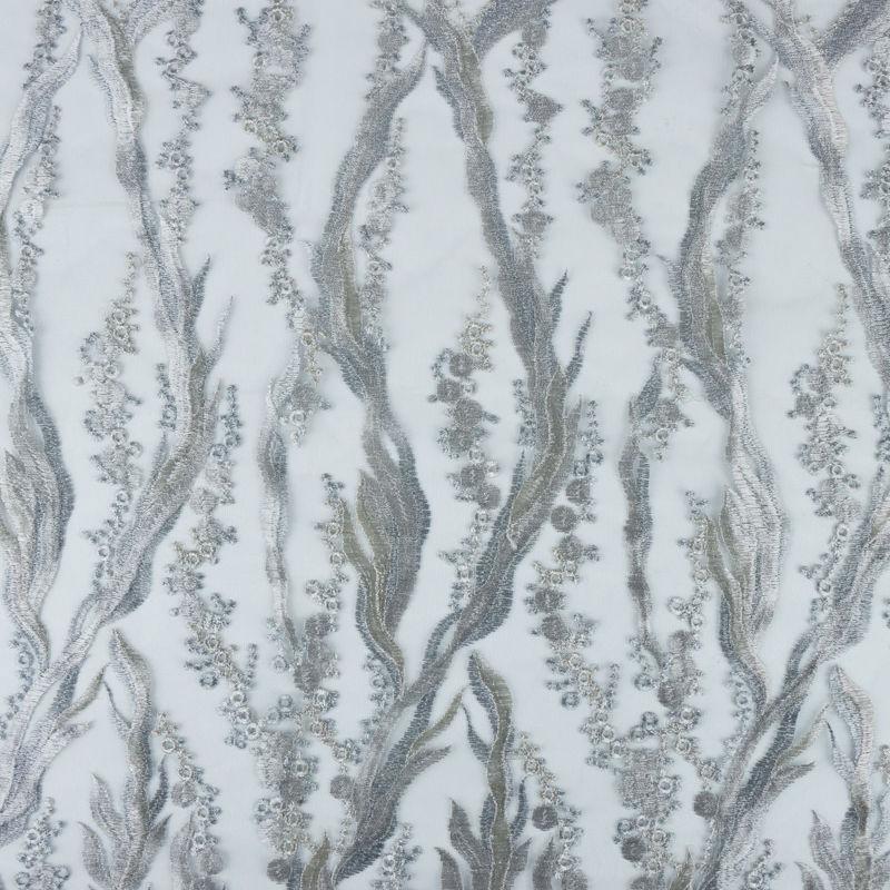 پارچه دانتل شاخه ای طوسی
