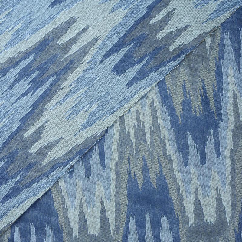 پارچه ژاکارد سیلک هندسی آبی