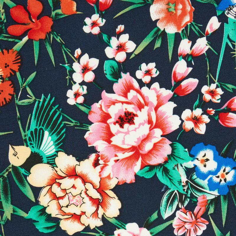 نخی گل دار سرمه ای
