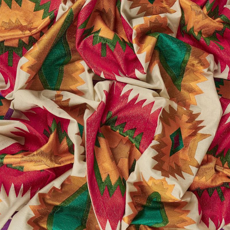 هندی بخارا دوزی سه بعدی قرمز نارنجی