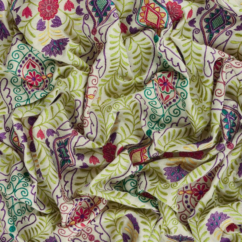 هندی بخارا دوزی شاخه ای سبز روشن