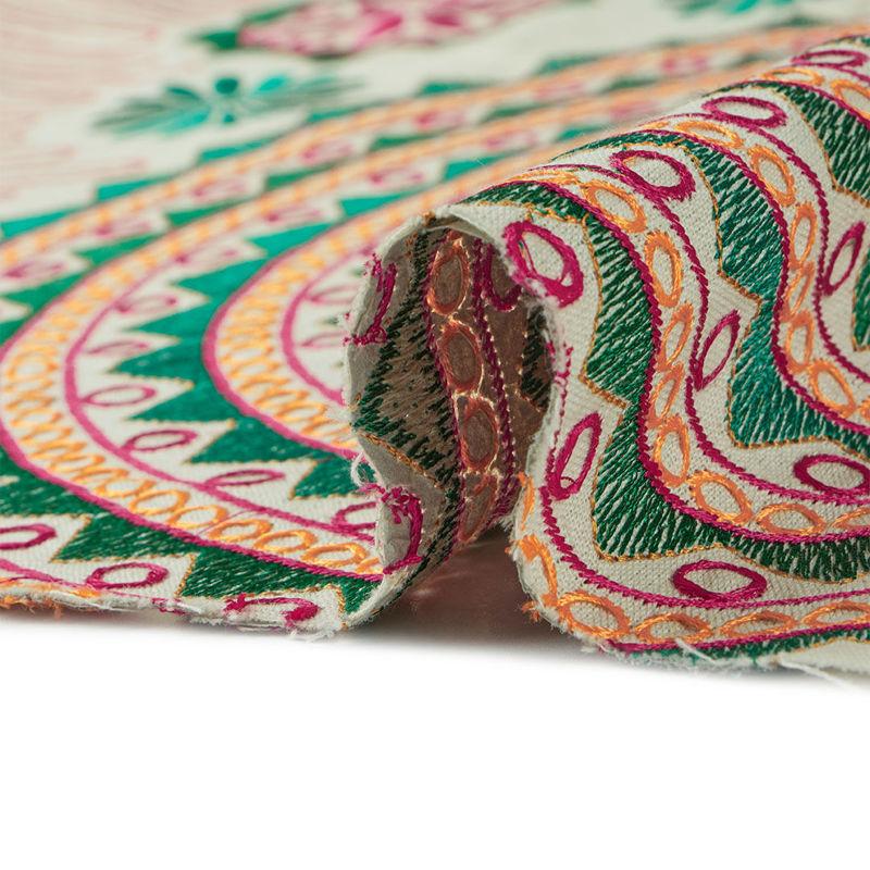 هندی بخارا دوزی پنل دایره ای سبز سرخابی