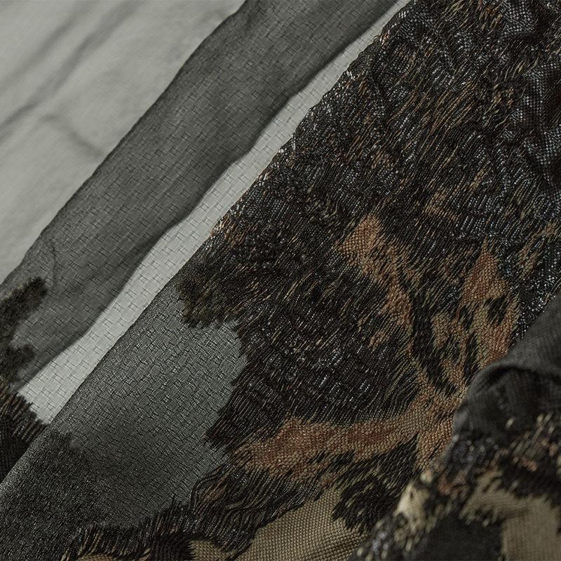 ژاکارد ارگانزا گل درشت قهوه ای