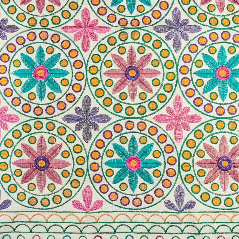 هندی بخارا دوزی پنل گل سبز صورتی