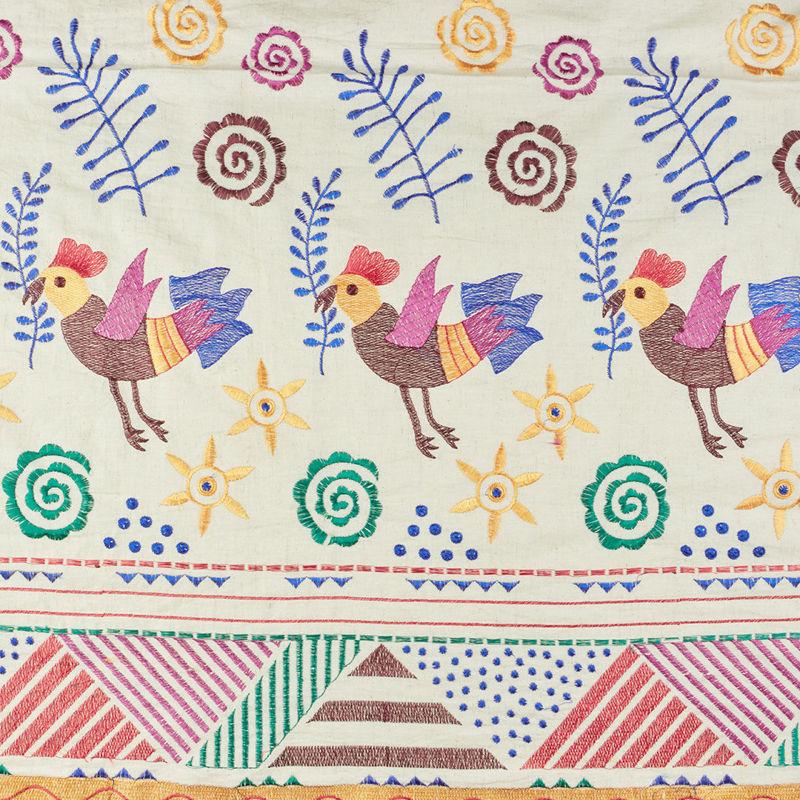 هندی بخارا دوزی پرنده قهوه ای
