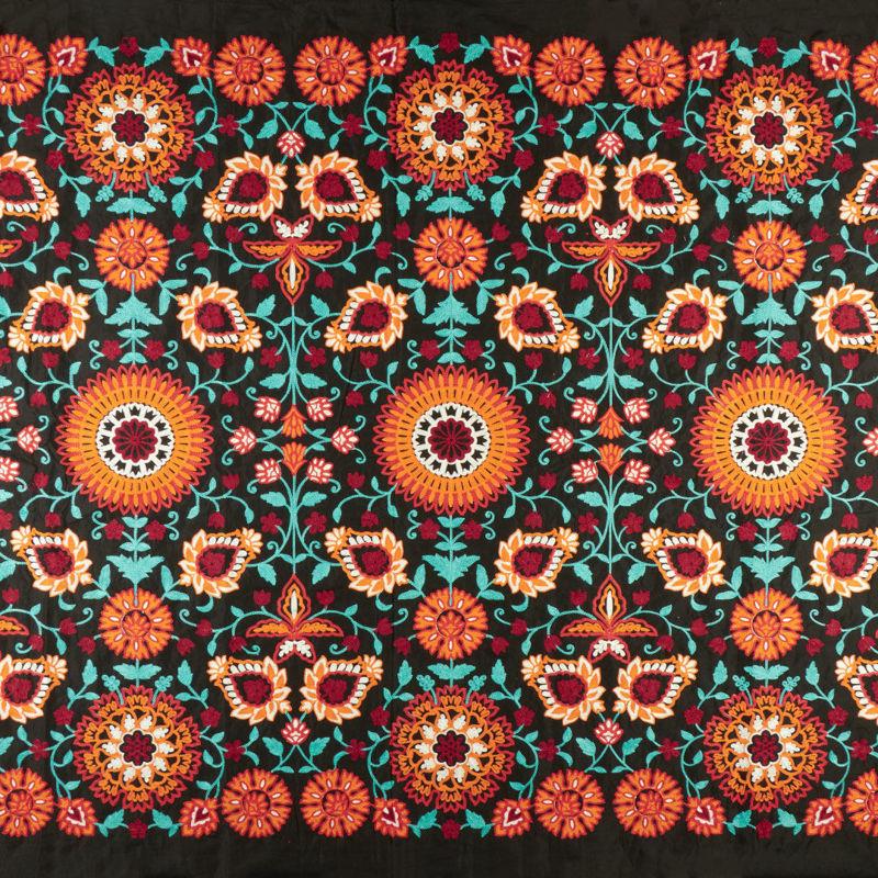 هندی بخارا دوزی گل لوتوس مشکی نارنجی