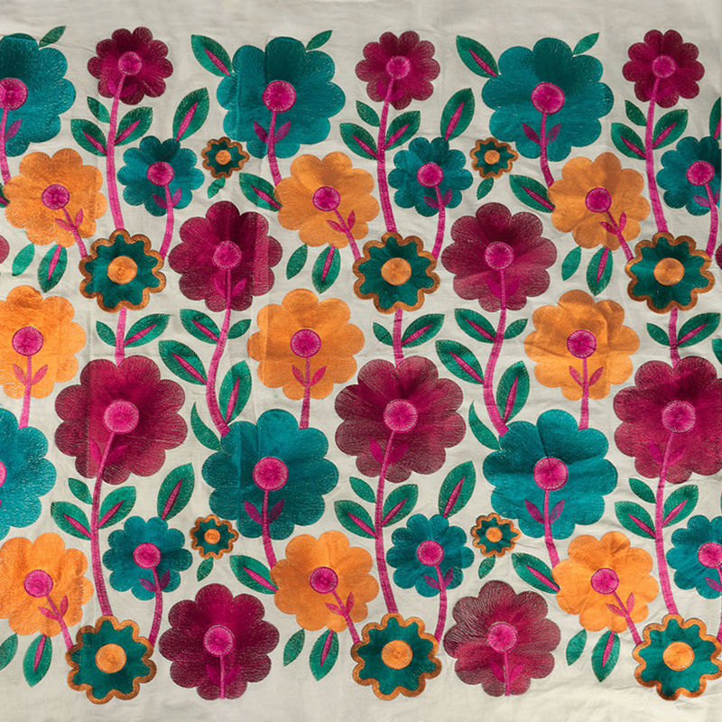 هندی بخارا دوزی گل درشت سرخابی