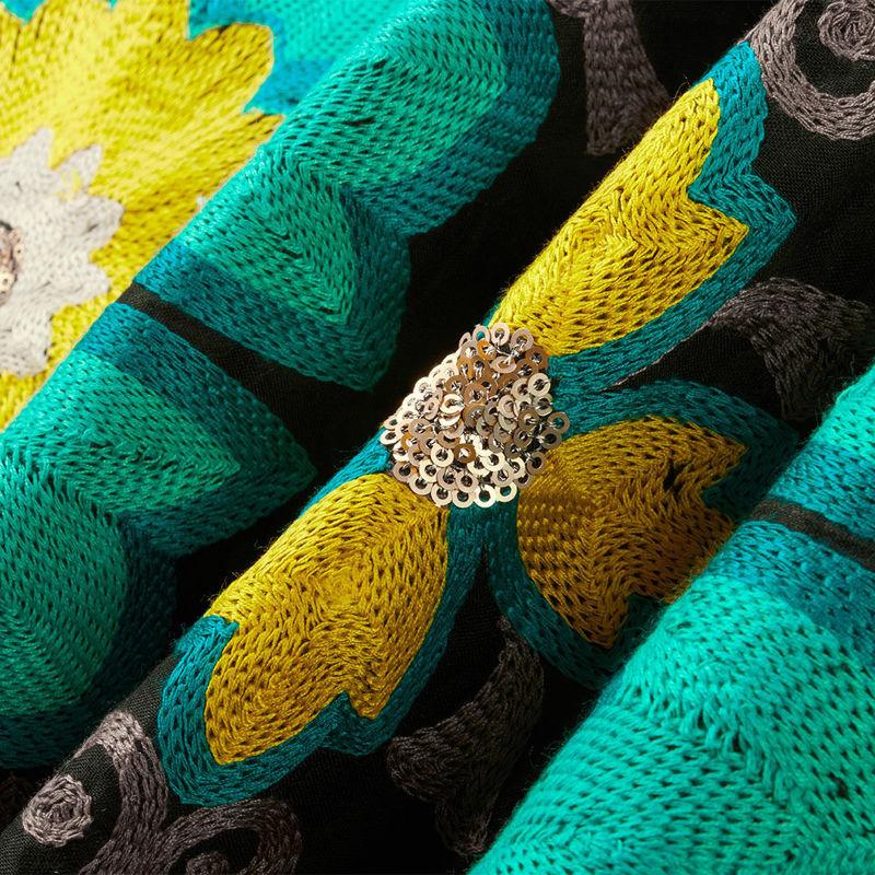 هندی بخارا دوزی پولکی مشکی سبز