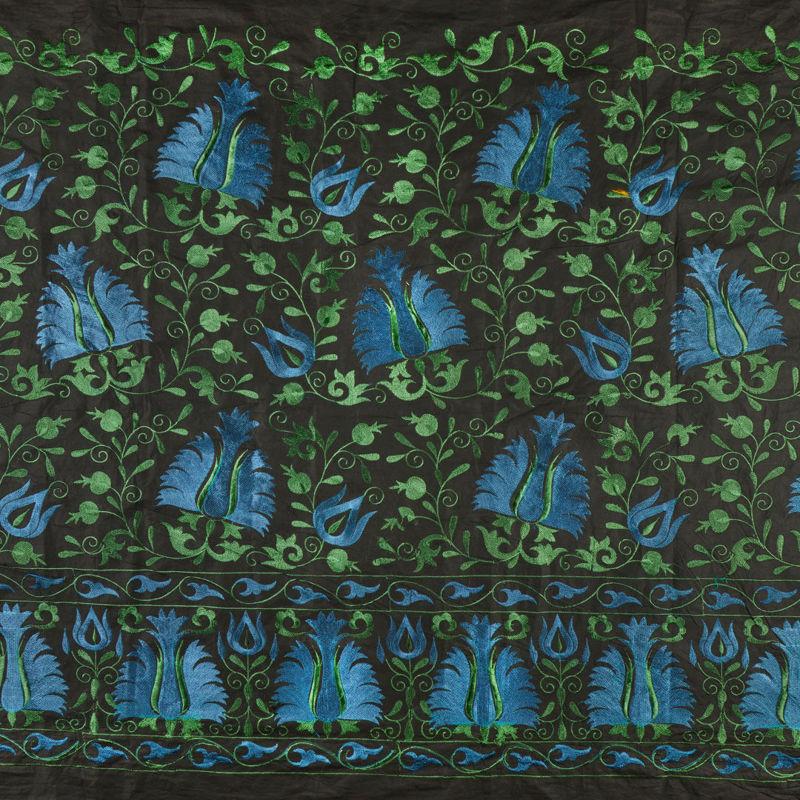 هندی بخارا دوزی گل حاشیه سبز تیره