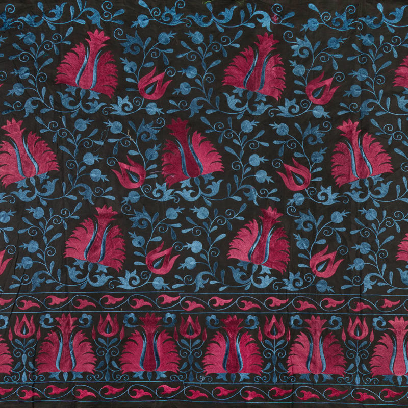 هندی بخارا دوزی گل حاشیه آبی درباری