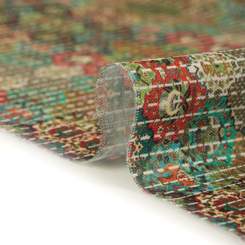 پارچه هندی نخی گل قالی لانه زنبوری سبز