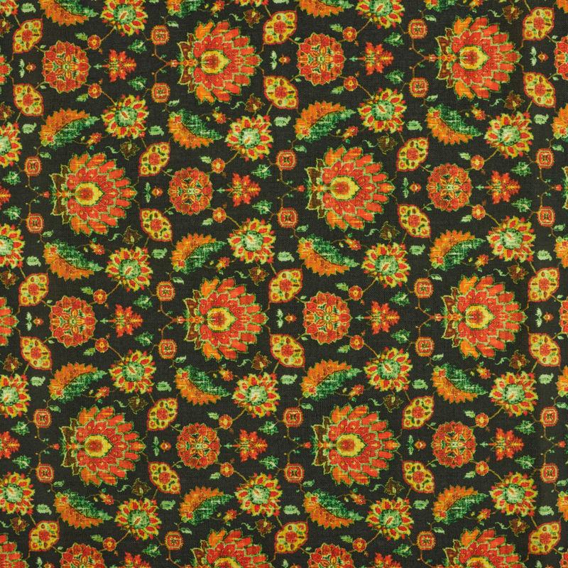 پارچه هندی نخی گل قالی آبرنگی مشکی