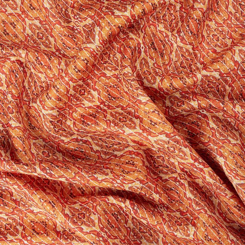 پارچه هندی نخی ترنج زنجیری ریز نارنجی