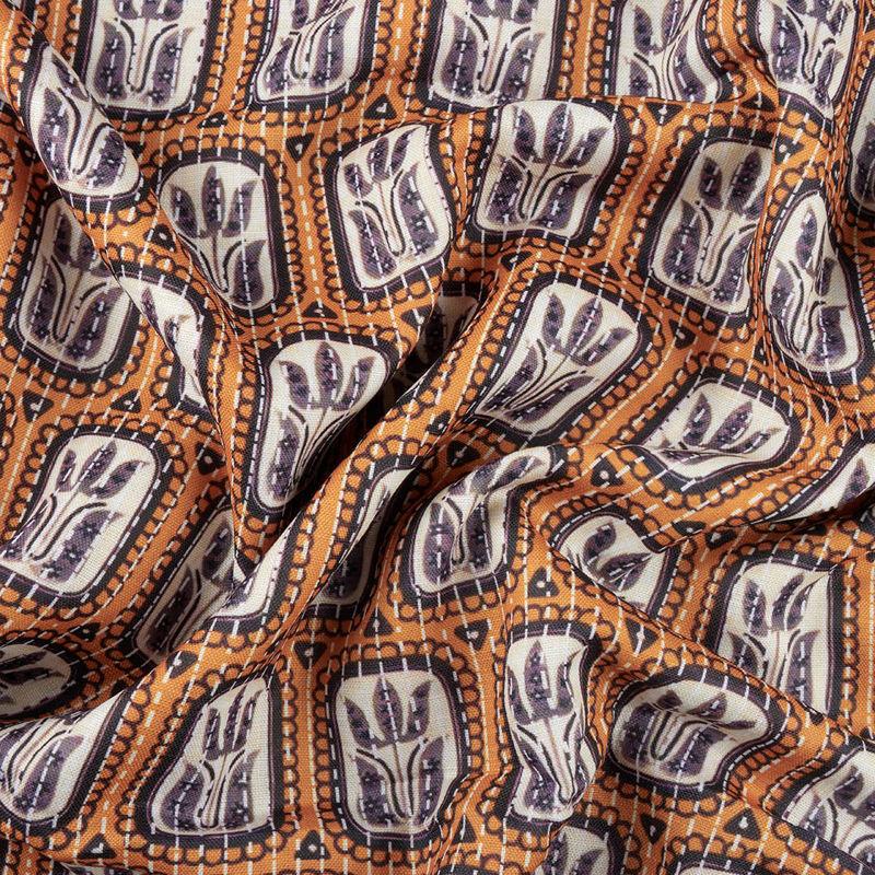 پارچه هندی نخی لاله قاب دار نارنجی