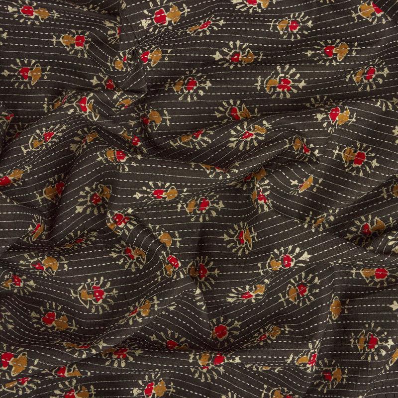 پارچه هندی نخی شمعدونی مشکی