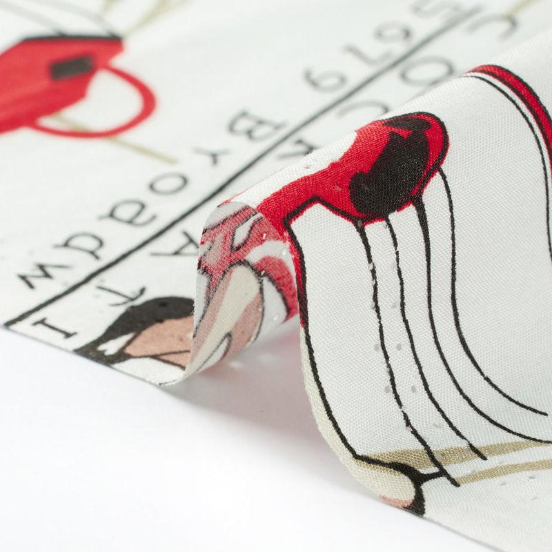 پارچه نخی لیدی سفید قرمز