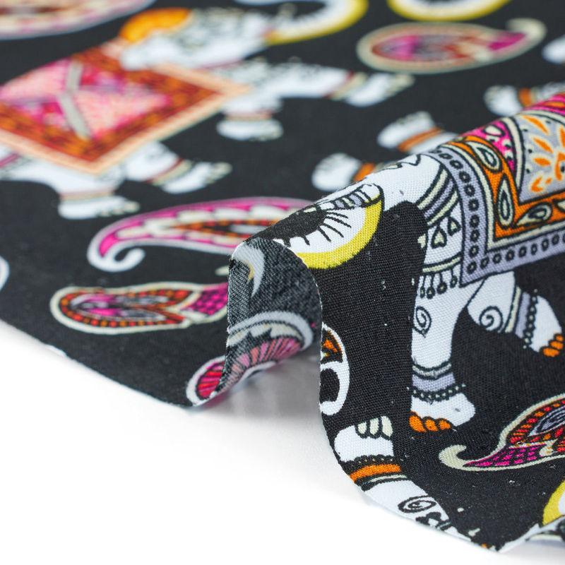 پارچه نخی بته جقه فیلی مشکی قرمز