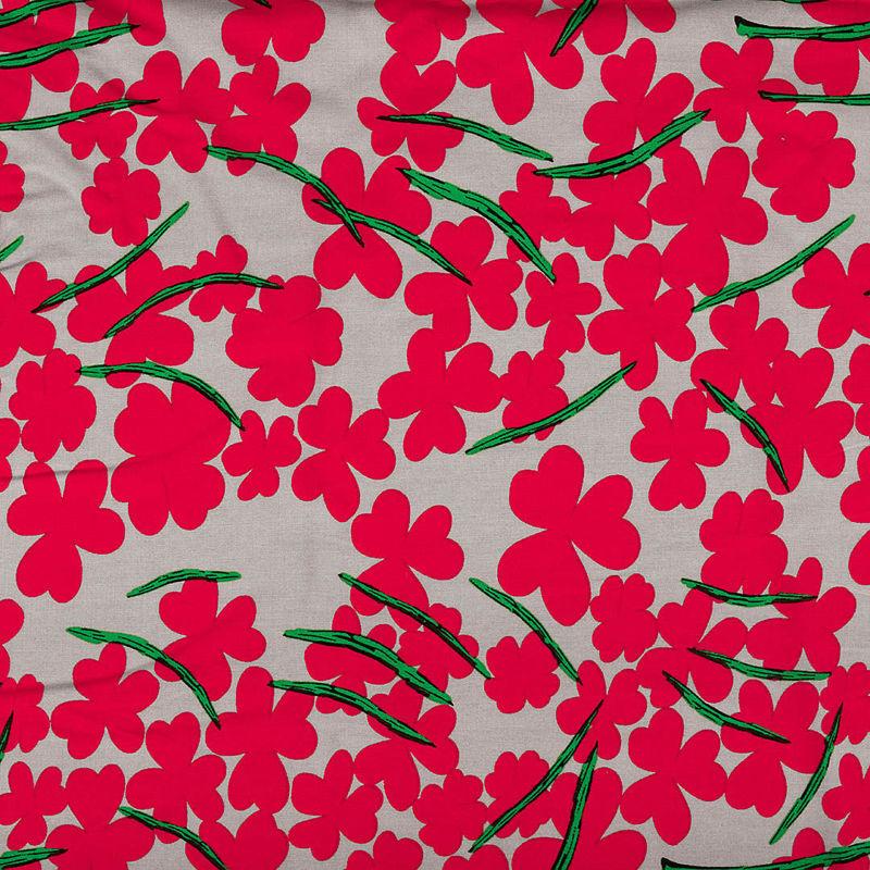 پارچه نخی شکوفه ای بژ قرمز