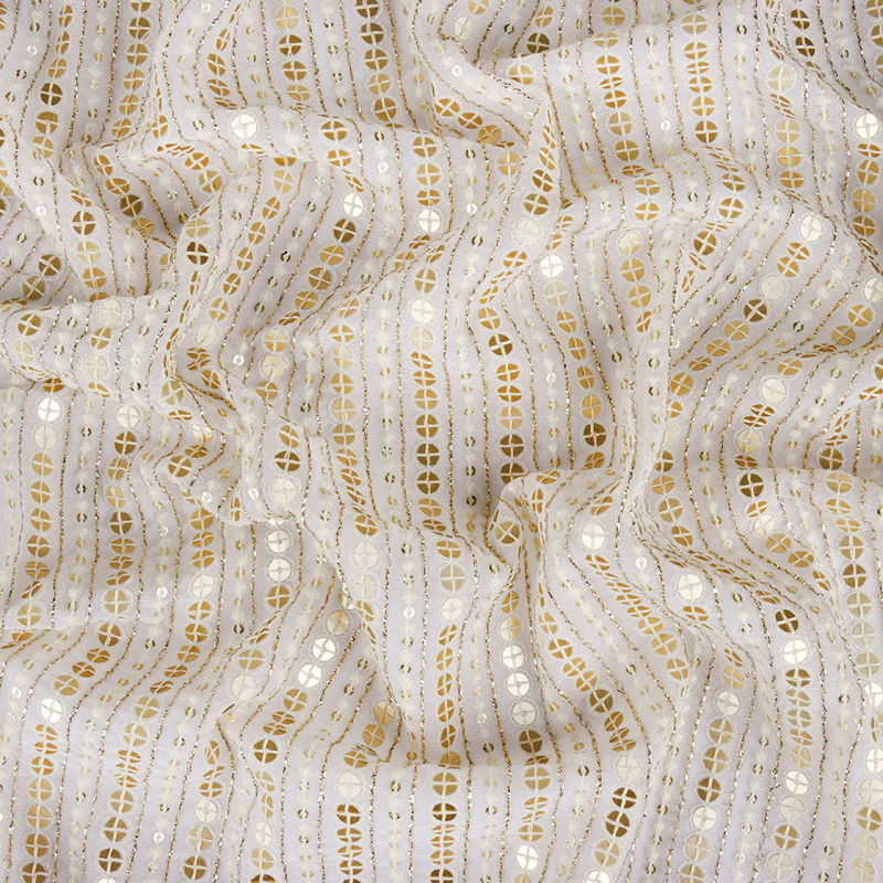 پارچه هندی حریر پولکی خطی سفید طلایی