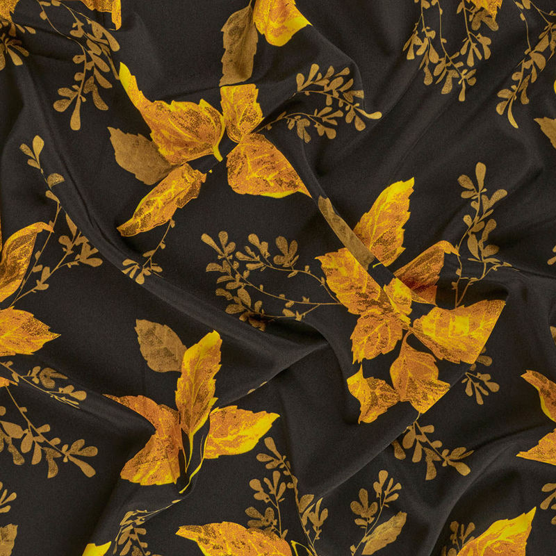 پارچه کرپ شرمن برگ پاییزی خردلی