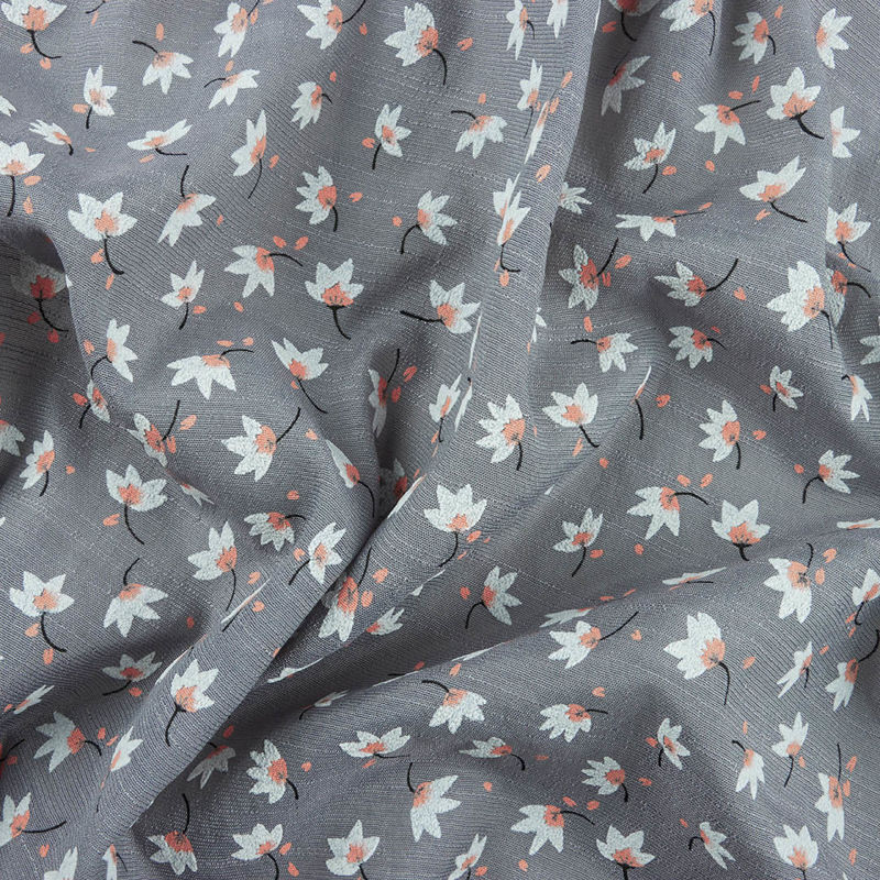 پارچه وال ژاکارد گل گچی طوسی