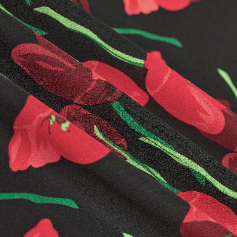 پارچه کرپ ژرژت گل شقایق قرمز