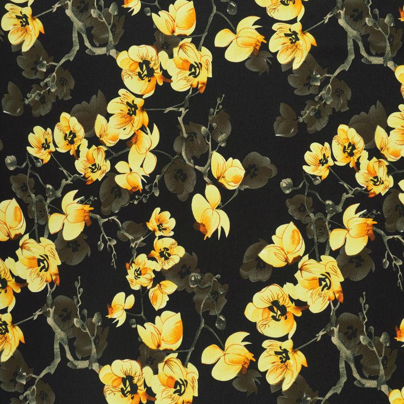 پارچه کرپ ژرژت گل بوته زرد