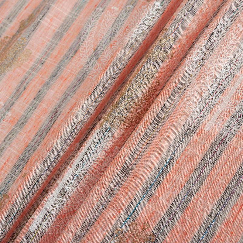 هندی لینن راه راه درشت خوشه ای نارنجی