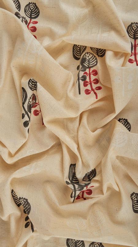 پارچه هندی لینن پاپی خاکستری
