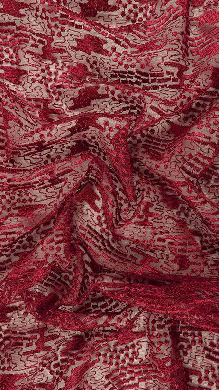 پارچه دانتل دیزاین 18314 زرشکی