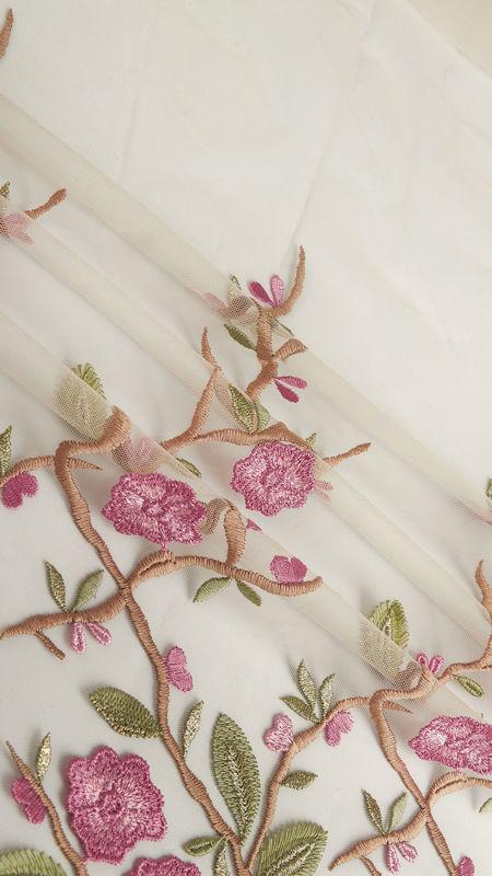پارچه دانتل دیزاین 18254 کرم