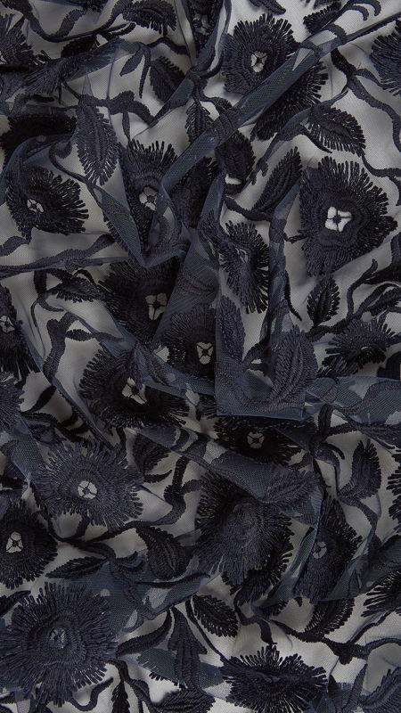 پارچه دانتل دیزاین18395 سرمه ای