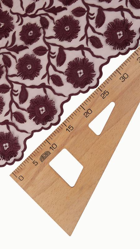 پارچه دانتل دیزاین18395 زرشکی