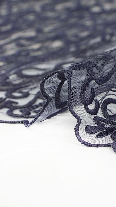 پارچه دانتل دیزاین26952 سرمه ای