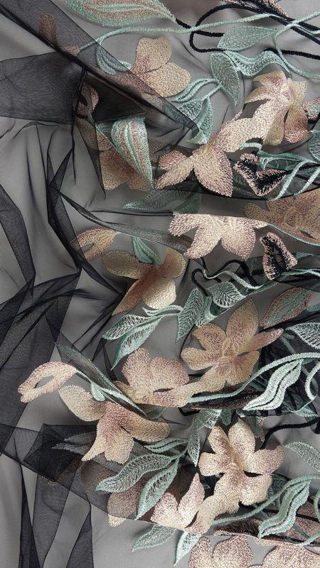 پارچه دانتل دیزاین18412 مشکی کرم