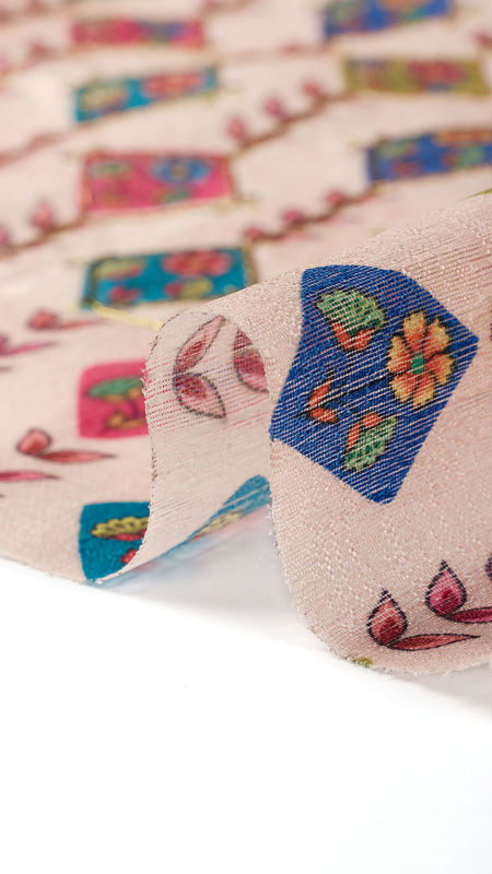 هندی تافته دیزاین 0612/6 گلبهی